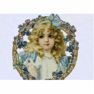 Vintage child with Victorian Blue Bow and Flowers Photo Sculpture