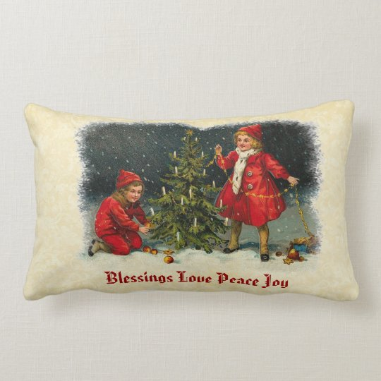 Vintage Children and Christmas Tree Love Peace Joy Lumbar Pillow