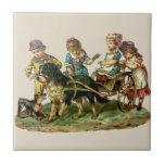 Vintage Children and Dog Wagon Ceramic Tiles