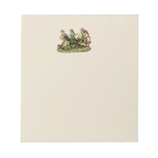 Vintage Children and Dog Wagon Notepad