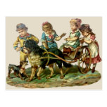 Vintage Children and Dog Wagon Post Card