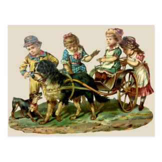 Vintage Children and Dog Wagon Postcard