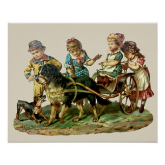 Vintage Children and Dog Wagon Poster