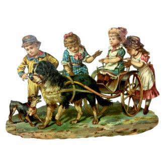 Vintage Children and Dog Wagon Statuette