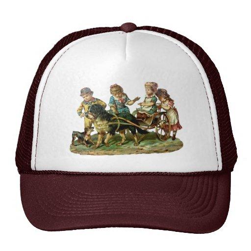Vintage Children and Dog Wagon Trucker Hat