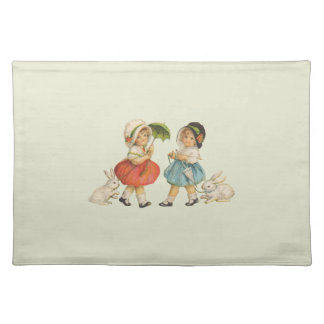 Vintage Children and Rabbits Cloth Placemat