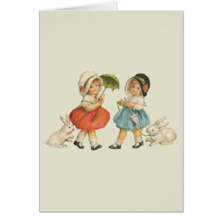 Vintage Children and Rabbits Greeting Card