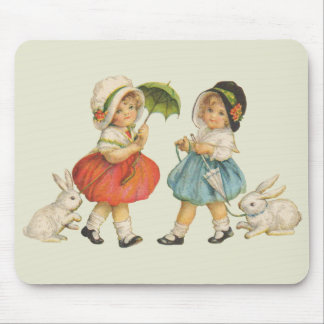 Vintage Children and Rabbits Mouse Pad