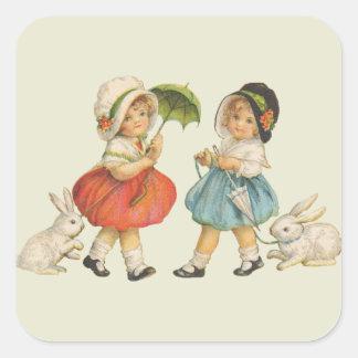 Vintage Children and Rabbits Square Sticker