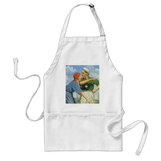 Vintage Children and Sports, Boys Playing Baseball Adult Apron