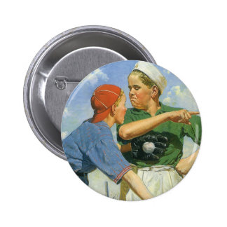 Vintage Children and Sports, Boys Playing Baseball Button
