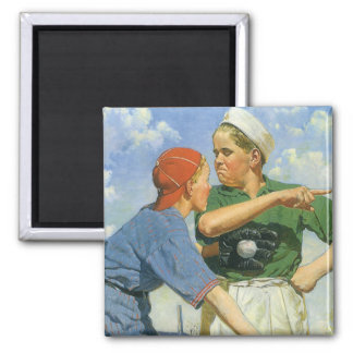 Vintage Children and Sports, Boys Playing Baseball Magnet
