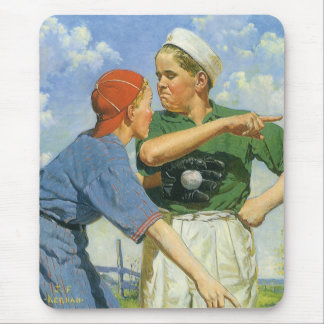 Vintage Children and Sports, Boys Playing Baseball Mouse Pad