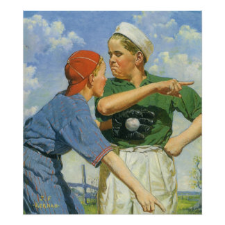 Vintage Children and Sports, Boys Playing Baseball Poster