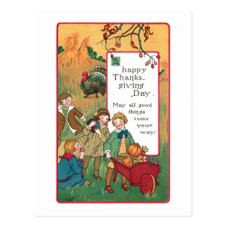Vintage Children and Thanksgiving Greeting Postcard