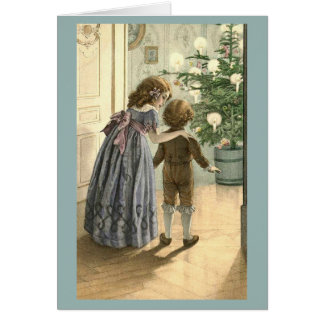 Vintage Children and Tree Christmas Card