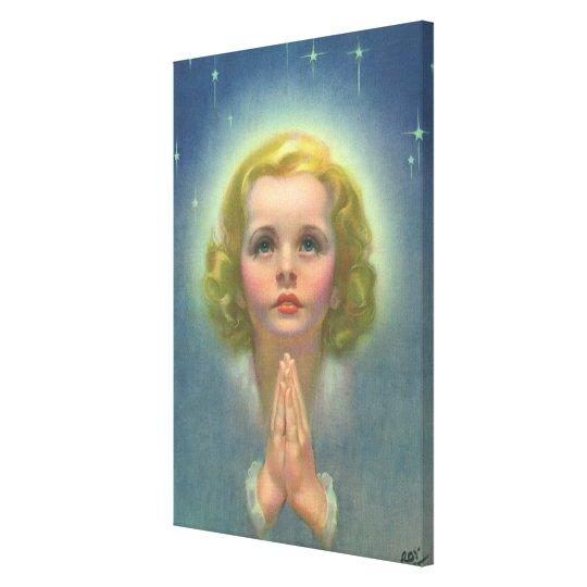 Vintage Children, Angelic Girl with Halo Praying Canvas Print