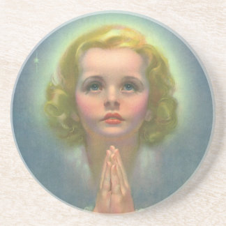 Vintage Children, Angelic Girl with Halo Praying Coaster