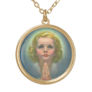 Vintage Children, Angelic Girl with Halo Praying Gold Plated Necklace