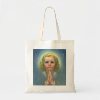 Vintage Children, Angelic Girl with Halo Praying Tote Bag