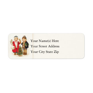 Vintage Children Around Small Christmas Tree Label