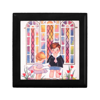Vintage Children At Church Easter Card Jewelry Box