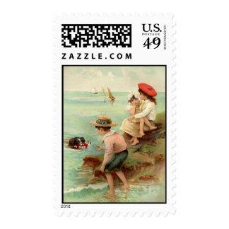 Vintage - Children at the Beach Postage