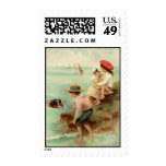 Vintage - Children at the Beach Postage Stamps