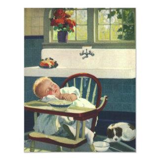 Vintage Children, Baby Asleep Highchair Invitation