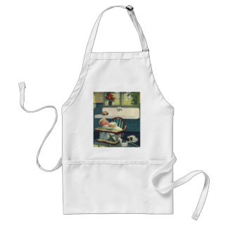 Vintage Children, Baby Sleeping Highchair Kitchen Adult Apron