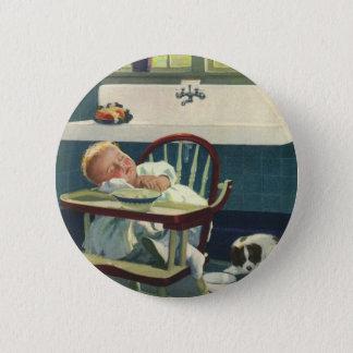Vintage Children, Baby Sleeping Highchair Kitchen Pinback Button