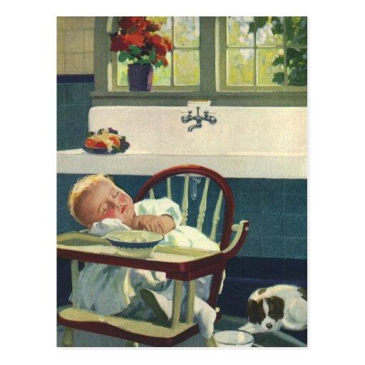 Vintage Children, Baby Sleeping Highchair Kitchen Post Cards