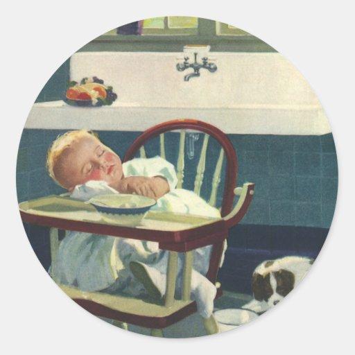 Vintage Children, Baby Sleeping Highchair Kitchen Round Sticker