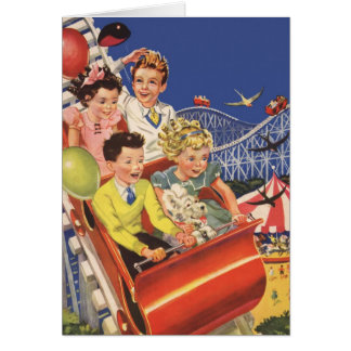 Vintage Children Balloons Dog Roller Coaster Ride Card
