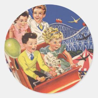 Vintage Children Balloons Dog Roller Coaster Ride Classic Round Sticker
