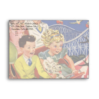 Vintage Children Balloons Dog Roller Coaster Ride Envelope