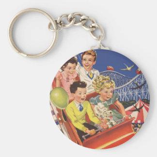 Vintage Children Balloons Dog Roller Coaster Ride Keychain