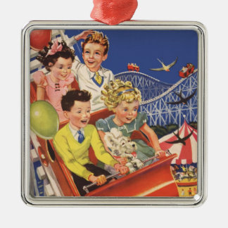 Vintage Children Balloons Dog Roller Coaster Ride Metal Ornament