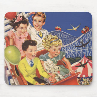 Vintage Children Balloons Dog Roller Coaster Ride Mouse Pad