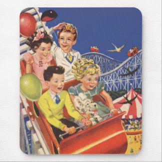 Vintage Children Balloons Dog Roller Coaster Ride Mouse Pad