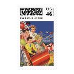 Vintage Children Balloons Dog Roller Coaster Ride Stamp