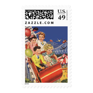 Vintage Children Balloons Dog Roller Coaster Ride Postage