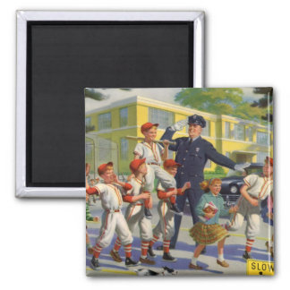 Vintage Children, Baseball Players Crossing Guard 2 Inch Square Magnet