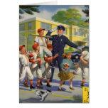 Vintage Children, Baseball Players Crossing Guard Greeting Card