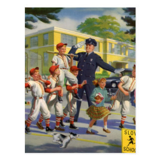 Vintage Children, Baseball Players Crossing Guard Postcard