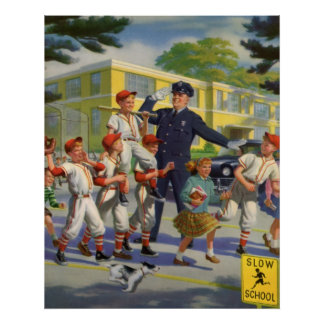 Vintage Children, Baseball Players Crossing Guard Poster