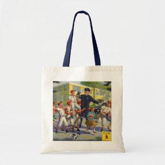 Vintage Children, Baseball Players Crossing Guard Tote Bag