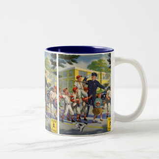 Vintage Children, Baseball Players Crossing Guard Two-Tone Coffee Mug
