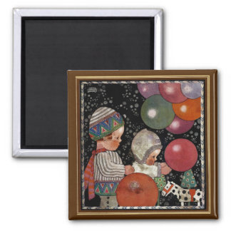 Vintage Children Birthday Party, Balloons and Toys 2 Inch Square Magnet