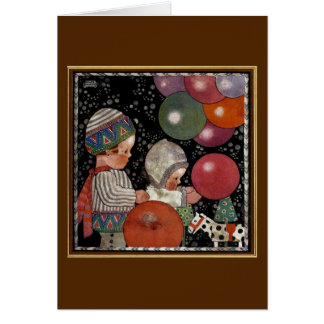 Vintage Children Birthday Party, Balloons and Toys Card